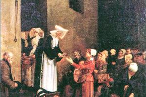 Painting depicting Rosalie serving people in Paris